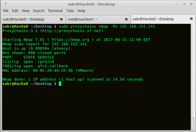 Nmap using ProxyChains 2nd Machine.png